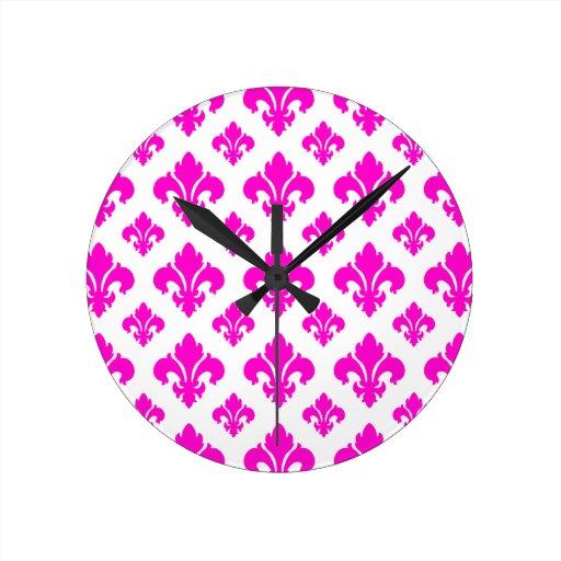 Rosa de la flor de lis 2 reloj