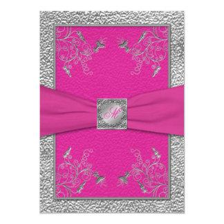 Rosa de la frambuesa e invitación con monograma