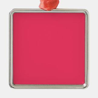 Rosa de la fresa adorno cuadrado plateado