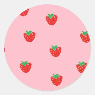 Rosa de la fresa pegatina redonda