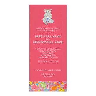 Rosa de la invitación del compromiso del boda de invitación 10,1 x 23,5 cm