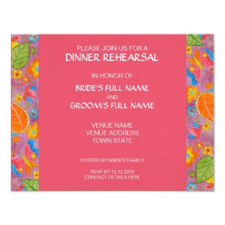 Rosa de la invitación del ensayo de la cena de invitación 10,8 x 13,9 cm