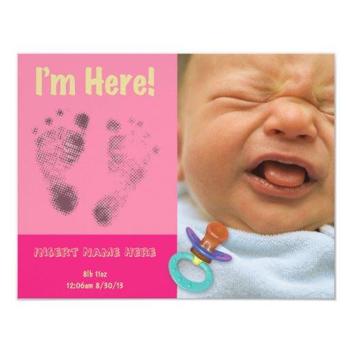 Rosa de la invitación del nacimiento de la niña