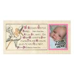 Rosa de la invitación del nacimiento de la niña y  tarjeta fotográfica