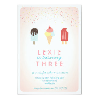 Rosa de la invitación del verano del helado y del