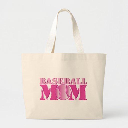 Rosa de la mamá del béisbol bolsas lienzo