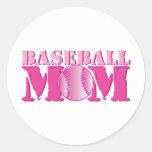 Rosa de la mamá del béisbol etiqueta redonda