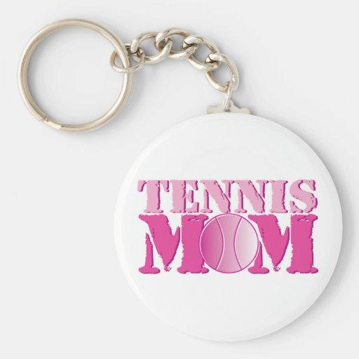 Rosa de la mamá del tenis llaveros