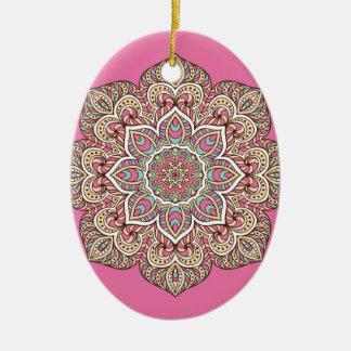 Rosa de la mandala adorno navideño ovalado de cerámica