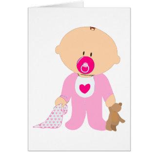 rosa de la manta del pacificador del peluche de la tarjeta de felicitación
