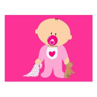 rosa de la manta del pacificador del peluche de la tarjeta postal