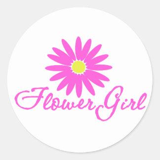 Rosa de la margarita del florista pegatina redonda