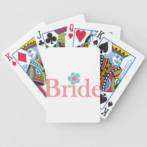 Rosa de la novia y flor de la turquesa barajas de cartas