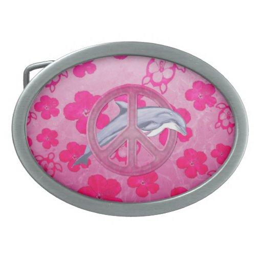 Rosa de la paz del delfín hebillas de cinturón ovales