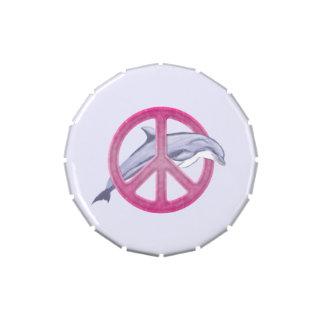 Rosa de la paz del delfín latas de caramelos