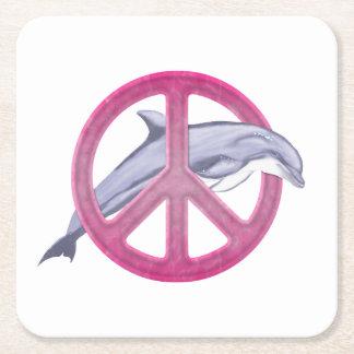 Rosa de la paz del delfín posavasos desechable cuadrado
