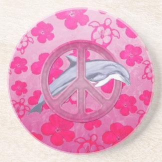 Rosa de la paz del delfín posavasos para bebidas