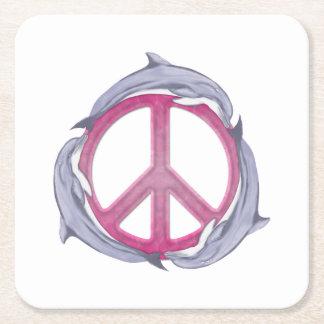 Rosa de la paz del delfín posavasos personalizable cuadrado
