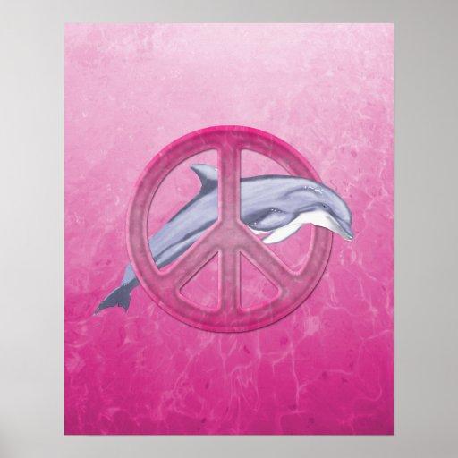 Rosa de la paz del delfín póster