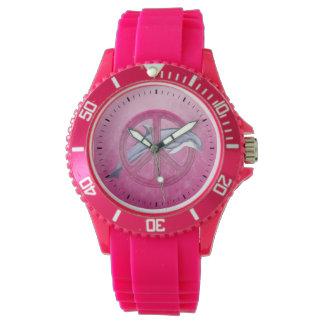 Rosa de la paz del delfín relojes de pulsera