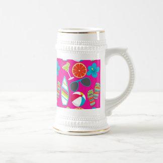 Rosa de la pelota de playa de las gafas de sol de  tazas de café