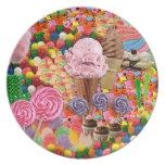 Rosa de la placa del collage del caramelo plato para fiesta