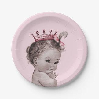 Rosa de la princesa fiesta de bienvenida al bebé plato de papel de 7 pulgadas