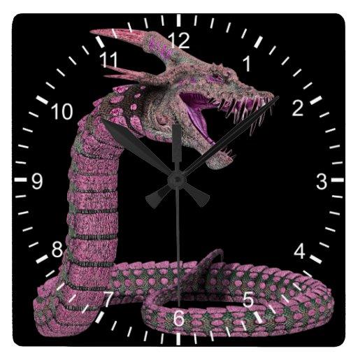 Rosa de la serpiente de la criatura reloj cuadrado