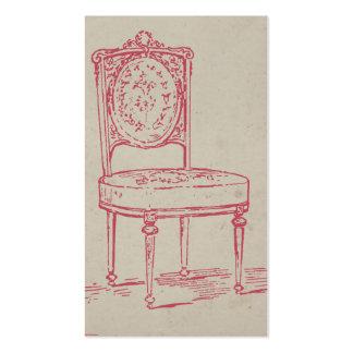 Rosa de la silla del vintage tarjetas de visita