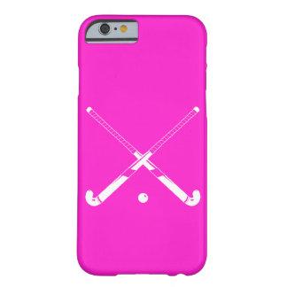 rosa de la silueta del hockey hierba del caso del funda barely there iPhone 6
