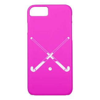 rosa de la silueta del hockey hierba del caso del funda iPhone 7