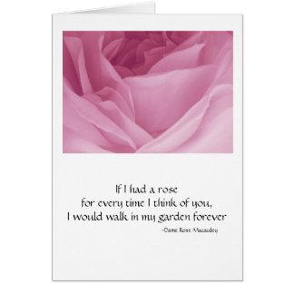 Rosa de la tarjeta de felicitación subió con cita