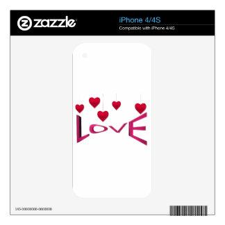 Rosa de la tarjeta del día de San Valentín Skins Para eliPhone 4S