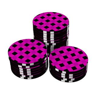 Rosa de la tela escocesa 1 juego de fichas de póquer