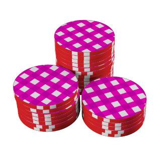 Rosa de la tela escocesa 1 fichas de póquer