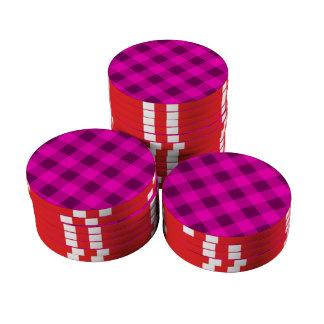 Rosa de la tela escocesa 2 juego de fichas de póquer