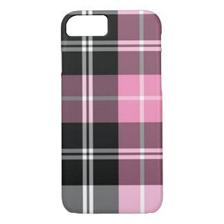 Rosa de la tela escocesa funda iPhone 7