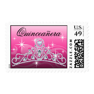 Rosa de la tiara del diamante de Quinceanera Timbres Postales