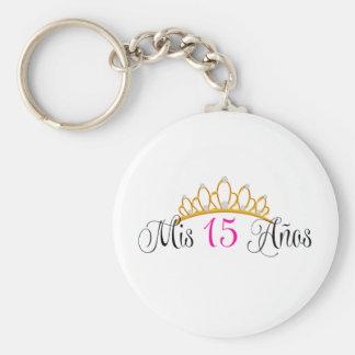 Rosa de la tiara del oro del Mis 15 Anos Quinceane Llavero Redondo Tipo Pin