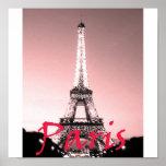 Rosa de la torre Eiffel de París Poster