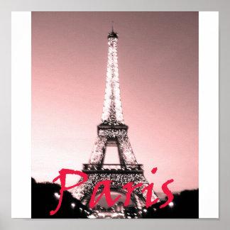 Rosa de la torre Eiffel de París Póster