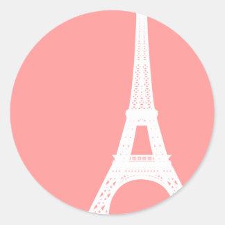 Rosa de la torre Eiffel Pegatina Redonda