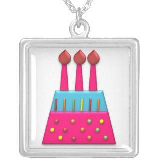 Rosa de la torta de cumpleaños del arco iris del f colgante cuadrado