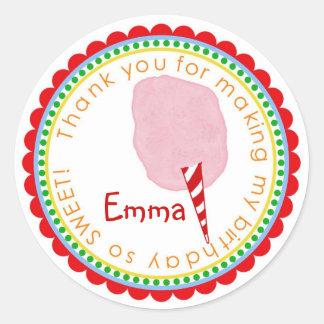 Rosa de las etiquetas engomadas del caramelo de pegatina redonda