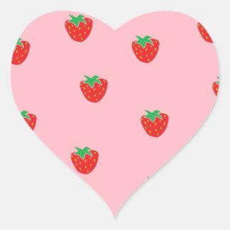 Rosa de las fresas pegatina en forma de corazón