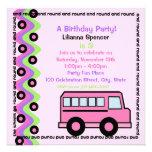 Rosa de las ruedas del autobús escolar invitaciones personales