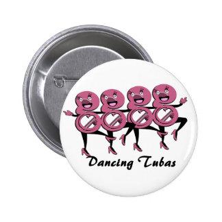 Rosa de las tubas del baile pin redondo 5 cm
