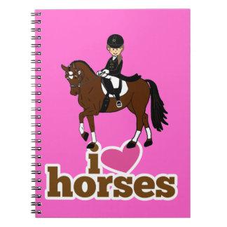 Rosa de los caballos del dressage del corazón I Libros De Apuntes Con Espiral
