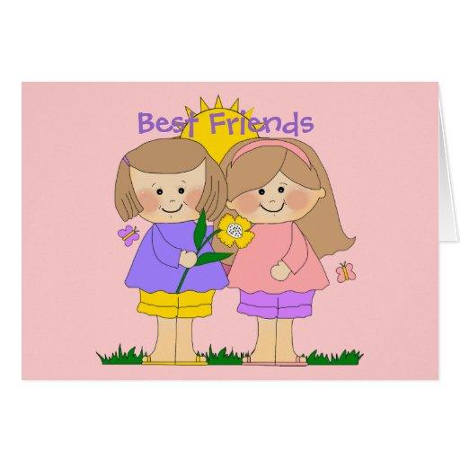 Rosa de los chicas 2 de los mejores amigos del tarjeta de felicitación