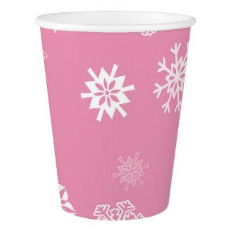 Rosa de los copos de nieve vaso de papel